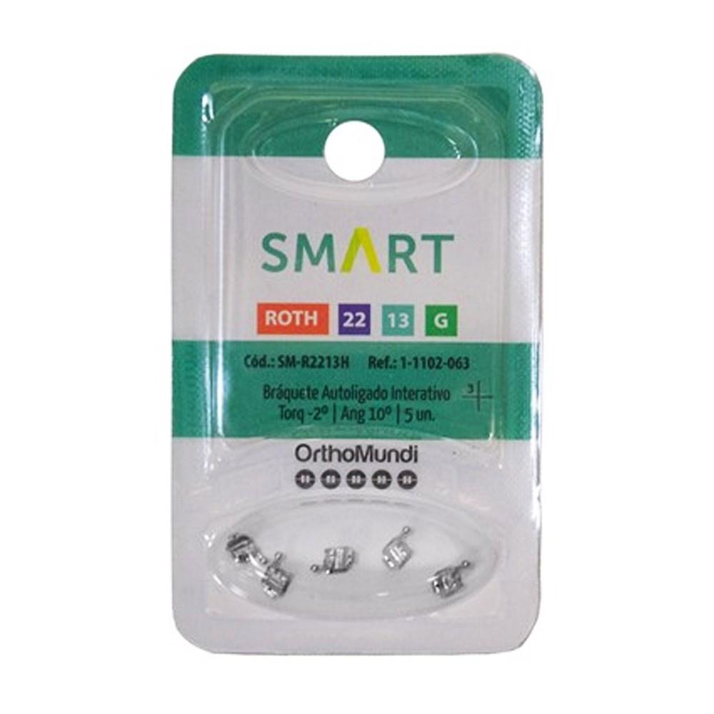 Braquete Autoligado Interativo Smart Roth 0.22 (33) C/Gancho C/5 - Orthomundi<br /> <br />