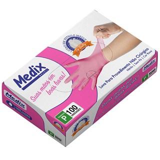 Luva Nitrílica Pink s/ Pó c/ 100 - Medix