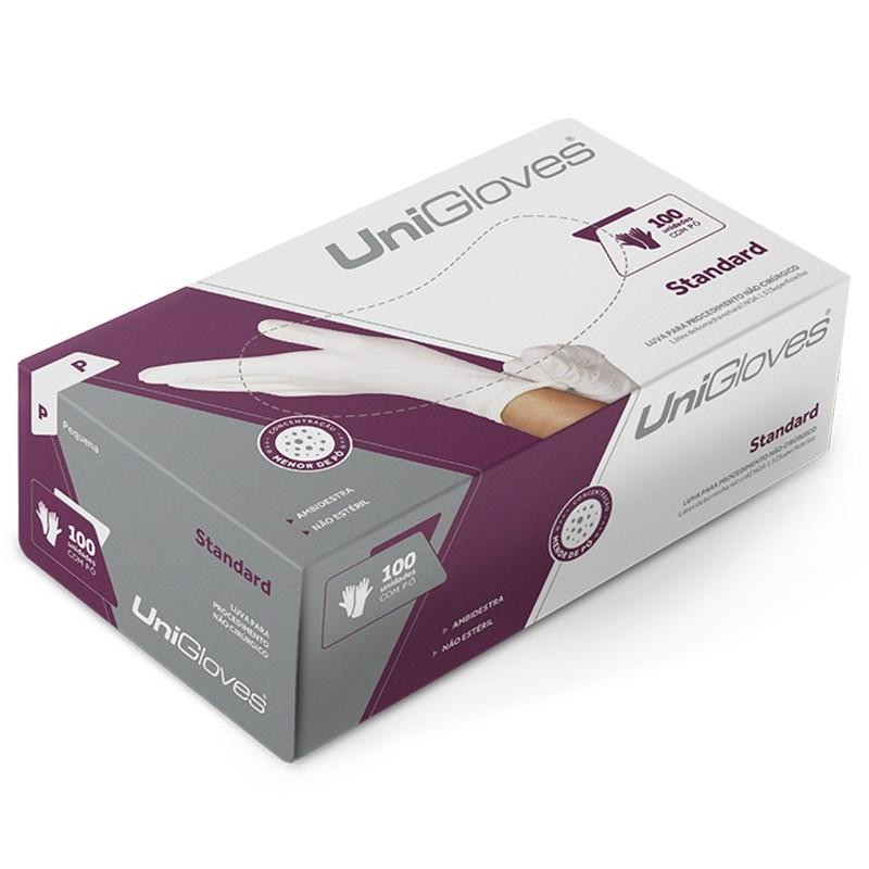 Luva para Procedimento Látex c/ Pó Standard c/ 100 - Unigloves