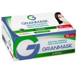 Mascara Cirurgica Tripla c/ Clip Nasal e Elastico Caixa c/ 50 Azul Granmask