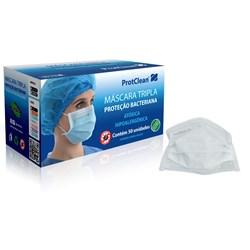 Máscara Tripla Elástico Branca c/ 50 Protclean
