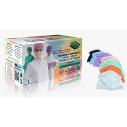 Máscara Tripla Elástico Cores Sortidas c/ 50 Protdesc