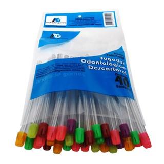 Sugador Odontológico Plástico Colorido c/ 40 - AG